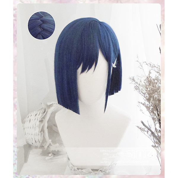 Anime DARLING In The FRANXX 015 Ichigo Wigs Short Blue Heat Resistant Synthetic Hair Cosplay Wigs + Wig Cap