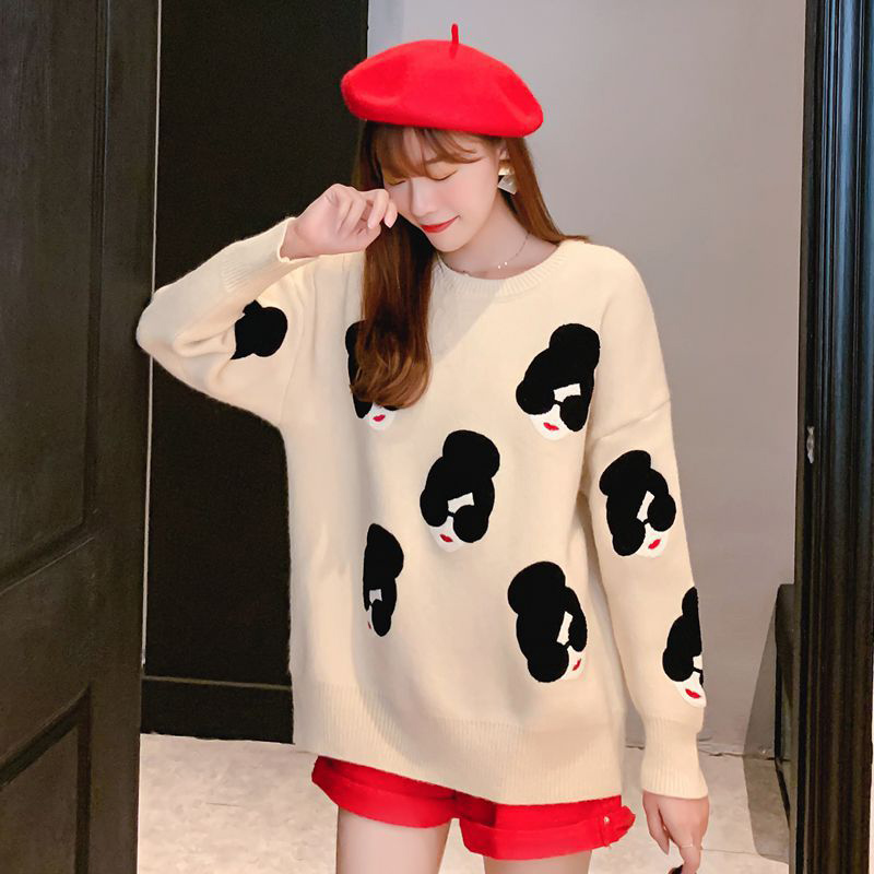 Women's Sweaters Winter Knitted O-Neck Print Cartoon Human Avatar Loose Female Pullovers 2020 Spring Warm School Ladies Sweater