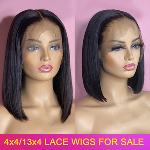 Bob Wig Human Hair 13x4 4x4 Lace Front Closure Human Hair Short Bob Wigs Straight 150% Peruvian Remy Lace Frontal Wigs For Women(China)