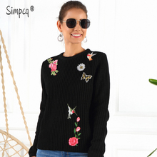 Women Sweater and Pullovers O-neck Sweet Dragonflies Butterflies Printed Jumpers