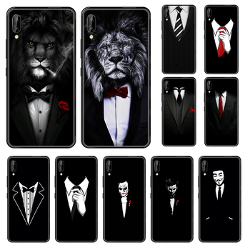 Cool Man Suit Shirt Tie Phone case For Huawei Honor Mate 5 7 8 9 10 20 i A X Lite Pro black 3D cover luxury cell cover art back image