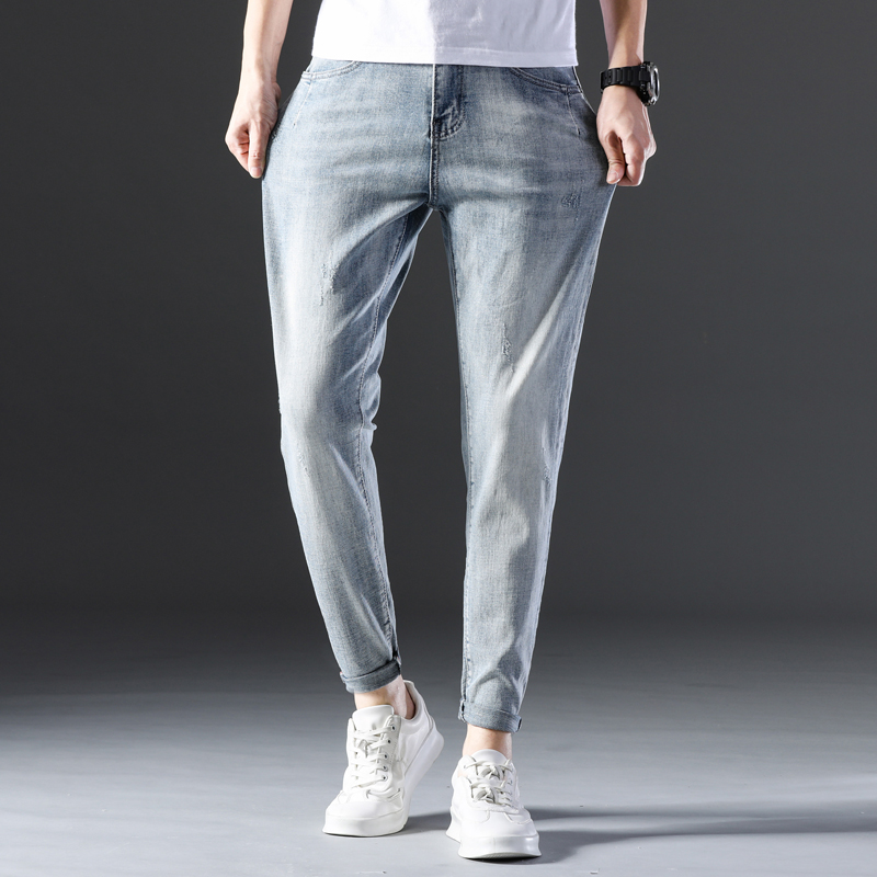 KSTUN Famous Brand Jeans Men White Blue Stretch Relaxed Tapered Pants Leisure Full Length Trousers Good Quality Jeans Male Homme 13