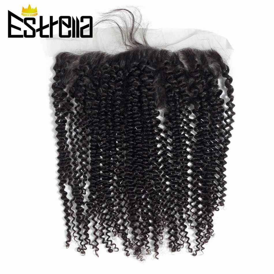 Rizado rizado 1 pieza 13 × 4 cierre Frontal de malla brasileño no remy 100% pelo humano atado a mano extensiones de cabello de Color Natural
