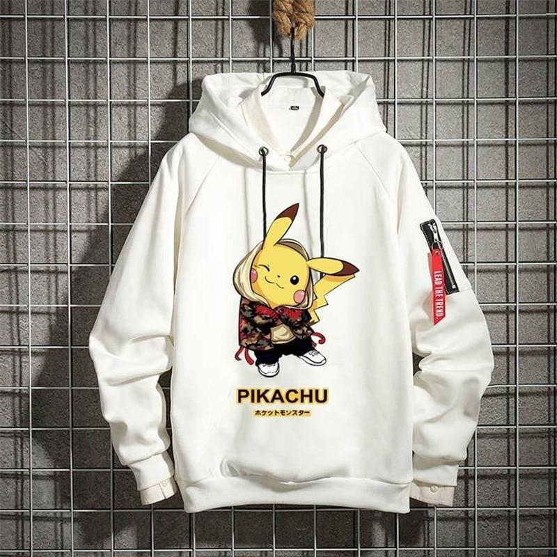 Pokemon Anime Hoodies Men Kawaii Printing Pikachu Hoodie Cute Cartoon Sweatshirt Pullover Cosplay Unisex Moletom Hooded Hoodie