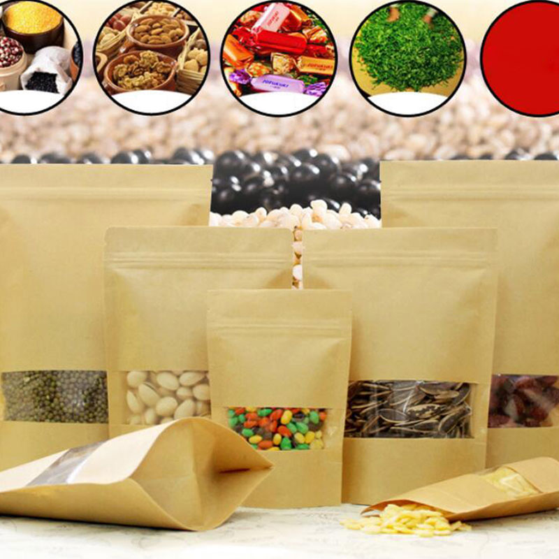 Ziplock Kraft Paper Tea Bag Window Bag Dried Food Fruit Tea Gift Packaging Zipper Self Sealing Stand Up Bags 5pcs/lot