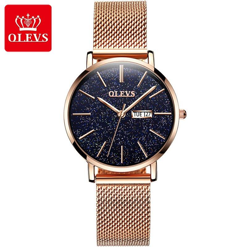 OLEVS Explosion Models Stars Quartz Watches Calendar Display Luminous Hands Waterproof Watch  Women's
