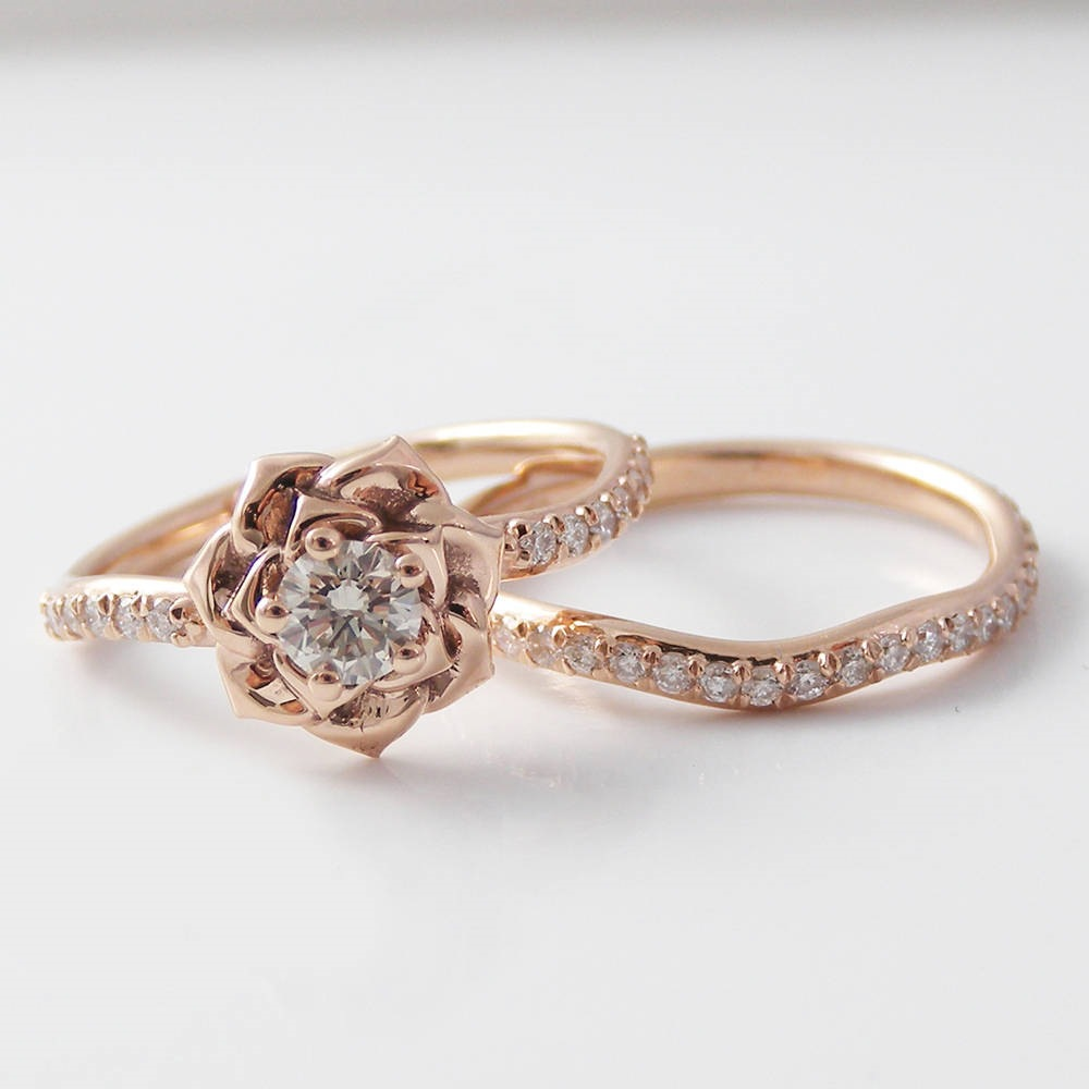 14K Rose Gold 2carats Diamond Ring Jewelry For Women Luxury Wedding Bizuteria Flower Shape Diamond Gemstone 14K Gold Ring Box