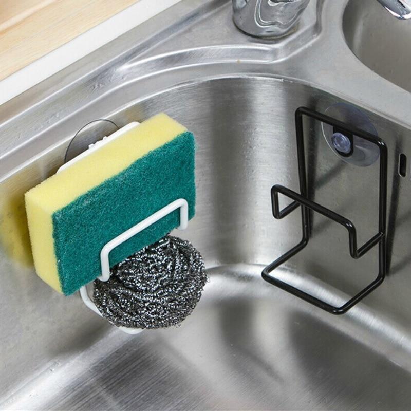 1pc Metal Suction Cup Sink Drain Rack Wall Sucker Sponge Storage Drying Holder Kitchen Sink Soap Stand Dish Cloth Organizer 1