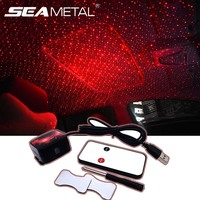 12V USB 인테리어 자동차 분위기 조명 자동차 프로젝터 장식 팔걸이 상자 로맨틱 별이 빛나는 하늘 빛 DJ 레드 스타 램프