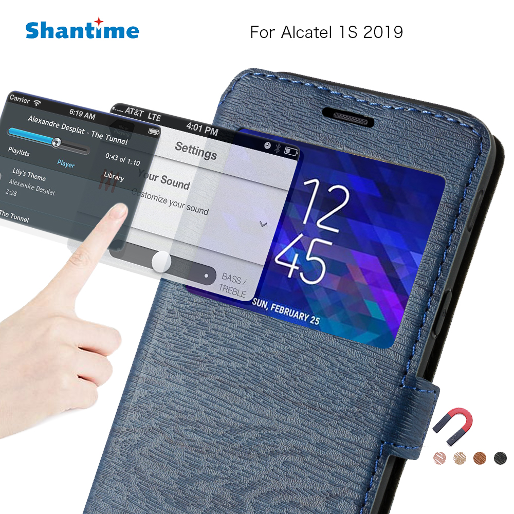 Pu Leather Phone Bag Case For Alcatel 1S 2019 Flip Case For Alcatel 1S 2019 Window Book Case Soft Tpu Silicone Back Cover(China)