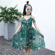 Children Teen Girls Floral Ruffles Off Shoulder Boho Dresses Fashion Summer Beach Dress Clothes Vestidos