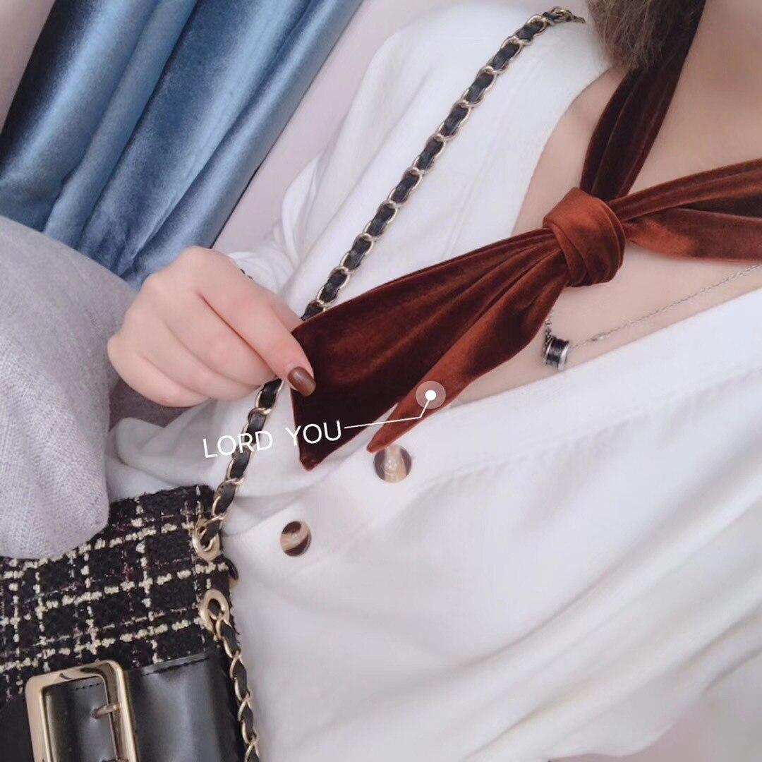 Новый длинный маленький шарф лента женский сплошной цвет бархат декоративный шарф
