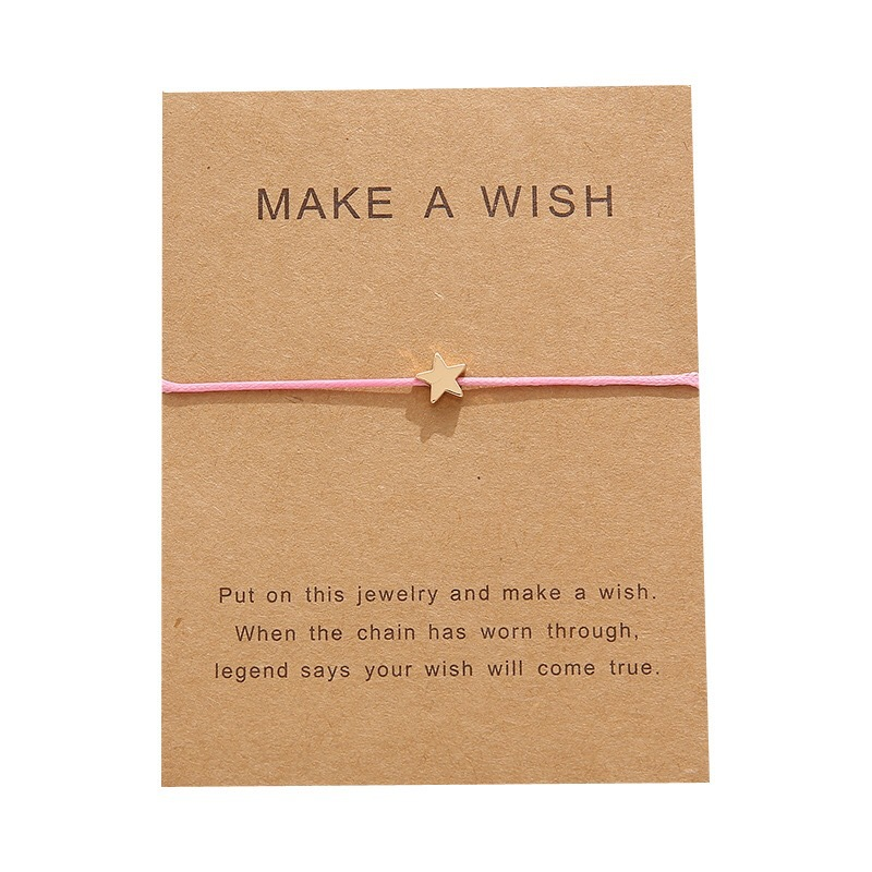 New European and American greeting card bracelet MAKE A WISH star hand-woven bracelet simple hand jewelry