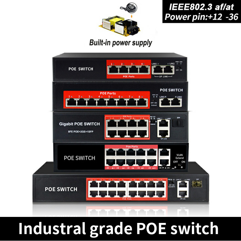 POE Switch 48V  With 8 100Mbps Ports IEEE 802.3 Af/at Ethernet Switch Suitable For IP Camera/Wireless AP/POE Camera