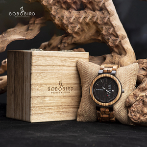 Image 1 - BOBO BIRD Men Watch Auto Date Wood Watches Men Timepieces Quartz Wrist Wristwatches relogio masculino C O26 DROP SHIPPING