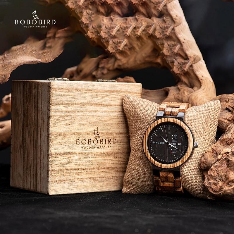 Bobo pássaro relógio masculino data automática relógios de madeira relógios de pulso de quartzo relogio masculino C-O26 drop shipping