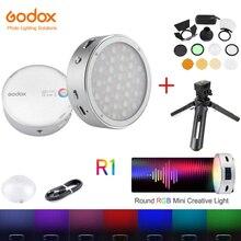 في المخزون Godox R1 RGB مصباح مصمم على شكل حلقة صغيرة الإبداعية ضوء بنيت في Magent Led ل Viedo الهاتف الذكي كاميرا فوتوغرافية التصوير الإضاءة