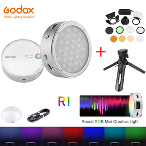 Image 1 - In Stock Godox R1 RGB Ring Light Mini Creative Light Built in Magent Led for Viedo Smartphone Photo Camera Photography Lighting