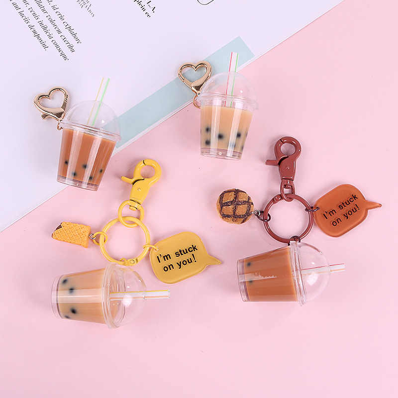 Cute Cartoon Creative Milk Tea Keychain Liquid Keyring for Women Bag Wallet Backpack Charms Pendant Jewelry Car Key Decoration