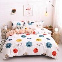Smile Face Pattern Bedding Set Kids Child Soft Skin Duvet cover Bed Linen Single Full Queen King Size Creative Bedclothes 3PCS
