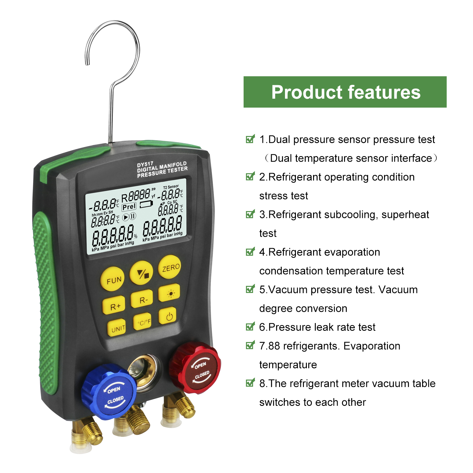 DUOYI Temperature-Meter Manifold-Pressure-Gauge Refrigeration Digital Test-Air-Conditioning