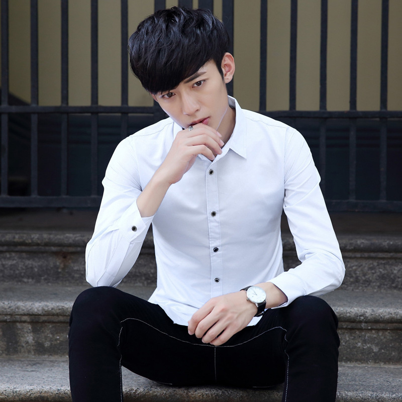 Man Luxury Stylish Casual Business Formal Shirt Long Sleeve Office Workers Lapel Shirts Solid Color Slim Fit Shirts