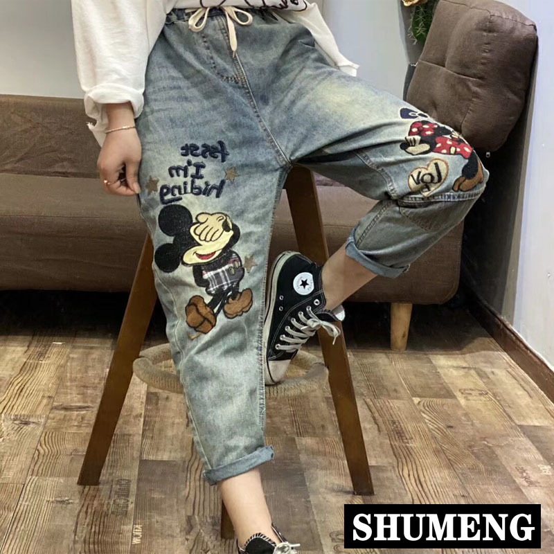 Spring New Women's Vintage Embroidered Jeans Plus Size Elastic Waist Graphic Patch Harem Pants Casual Female Loose Pants