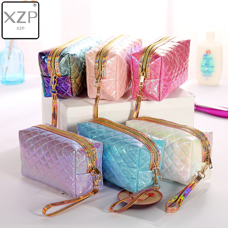 XZP New PU Portable Women Cosmetic Bag Travel Personality Laser Plaid Storage Bag Large Capacity Wash Bag Make Up Case