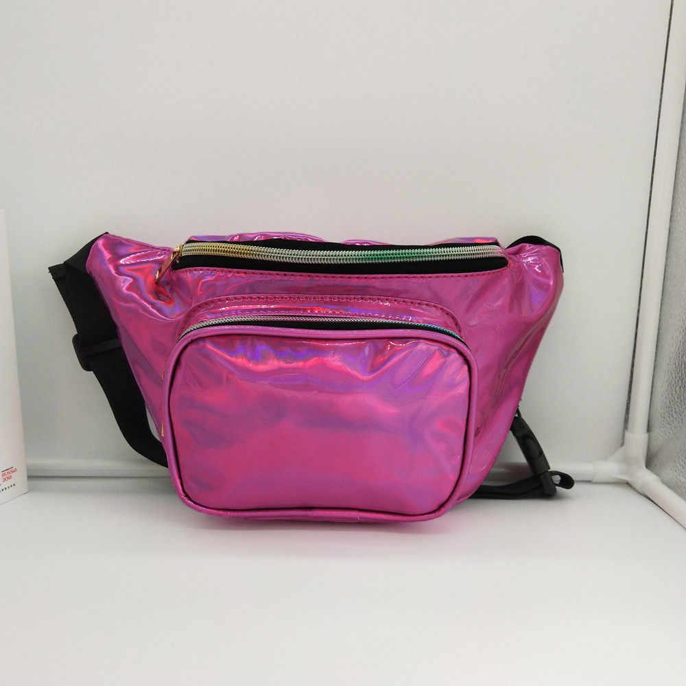 Fanny Pack femmes Sport paillettes taille sacs en cuir argent ceinture sac filles Laser poitrine sacs téléphone pochette enfants Fanny Packs # B