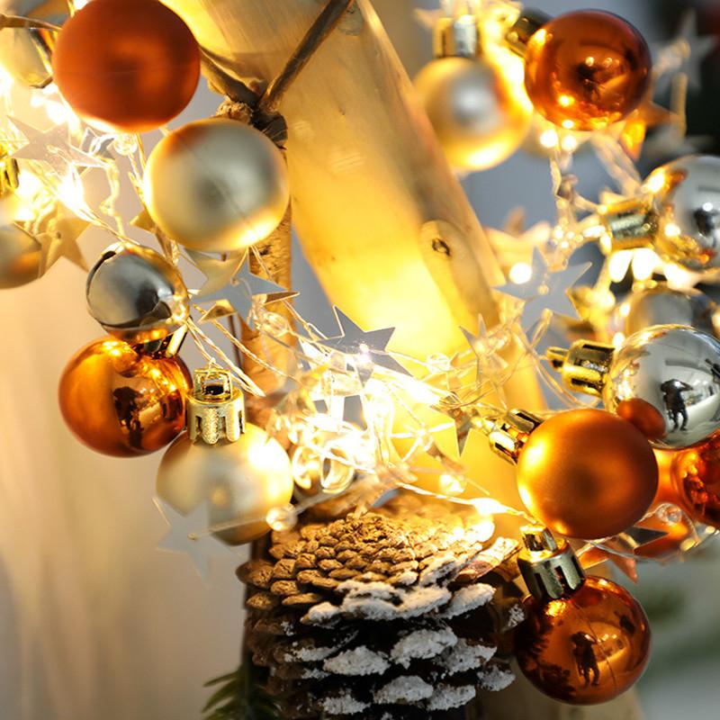 HiMISS 20LEDs 2M Orange Yellow Gold Round Ball Bell Christmas String Light For Home Party Decor