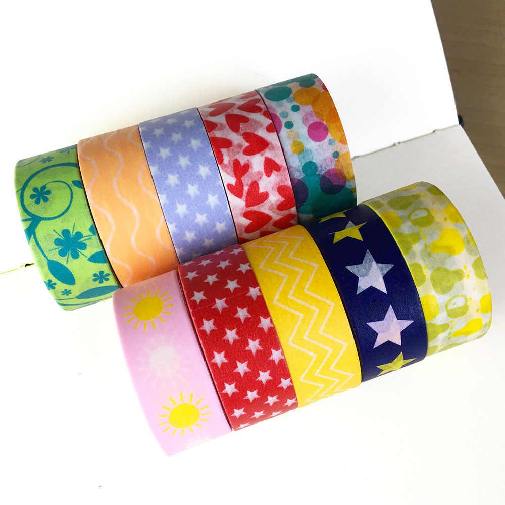 1 Pcs Warna-warni Washi Tape Kertas Jepang DIY Perencana Masking Tape Perekat Stiker Dekoratif Stationery Tape