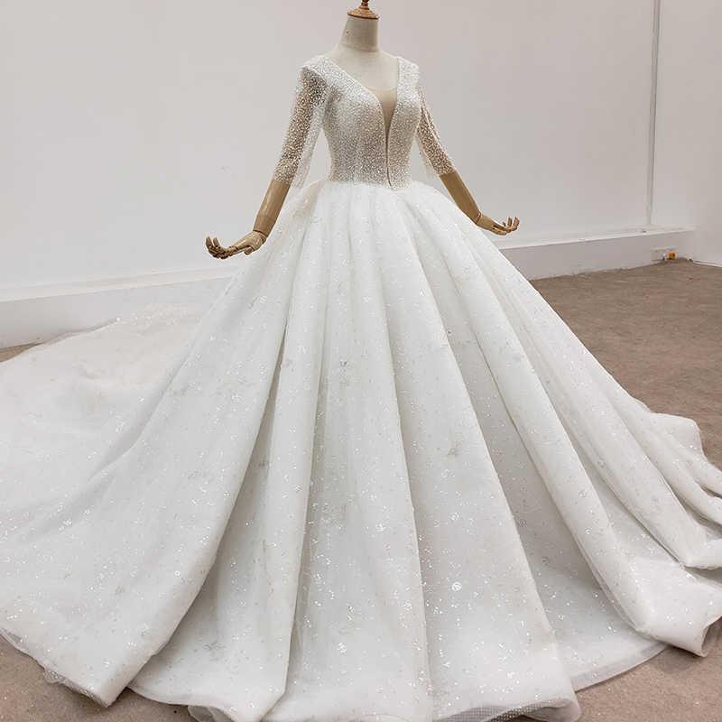 HTL1419 Abito Da Sposa scollo a v manica lunga abito da sposa con perle e perline trasparenti abito da sposa wending vestito
