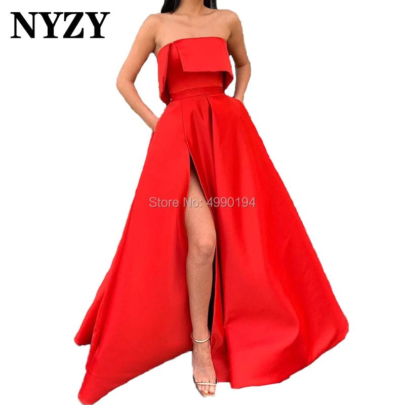 Red Prom Dresses NYZY P68 Satin Strapless High Slit Long Evening Gown Formal Dress Women Elegant Robe De Soiree