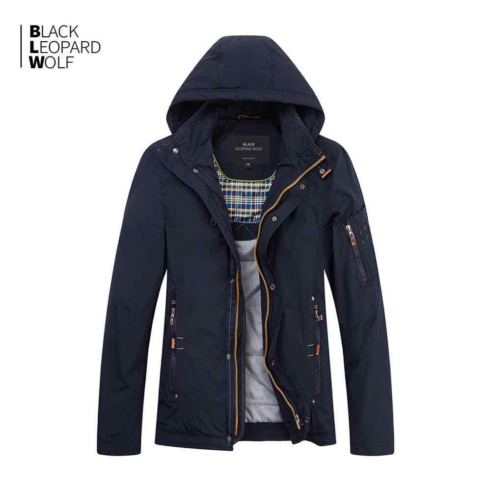 Blackleopardwolf 2019 새로운 도착 겨울 자켓 남자 얇은 면화 후드 겨울 코트 남자와 지퍼 MC-17076