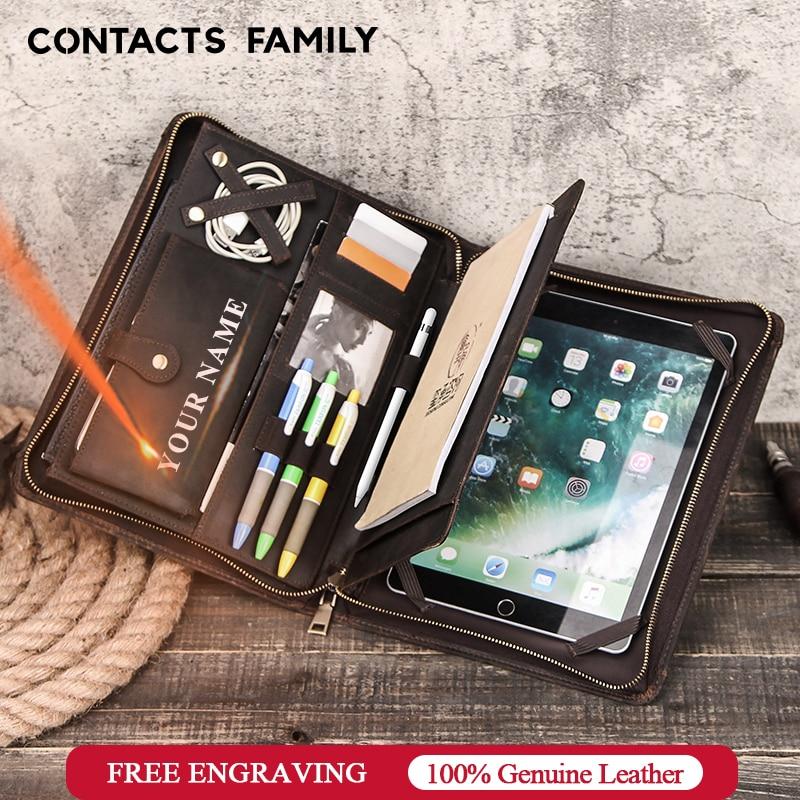 Portefeuille en cuir Vintage fait main famille CONTACT'S pour nouvel iPad Pro 11 10.5 Air 3 10.2