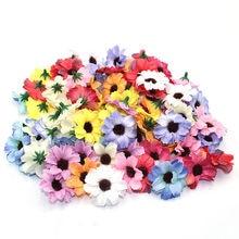 50 pièces quentes de 4 cm multicolor marguerite fleur tête mini soie fleurs artificielles, despeje bricolage décoration de la maison b