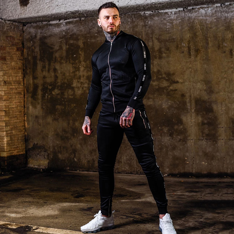 Vanquish Fashion Fitness Suit Muscle Brother Autumn Winter Fit Zipper Casual Cardigan Hip Hop Jogger Men's Wear Jogger Set 2020