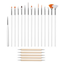 20pcs UV Gel Acrylic Nail Art Brush Tool Set Nail Ombre Brush For Manicure Drawing Pen Point Nail Design Painting Pen(China)