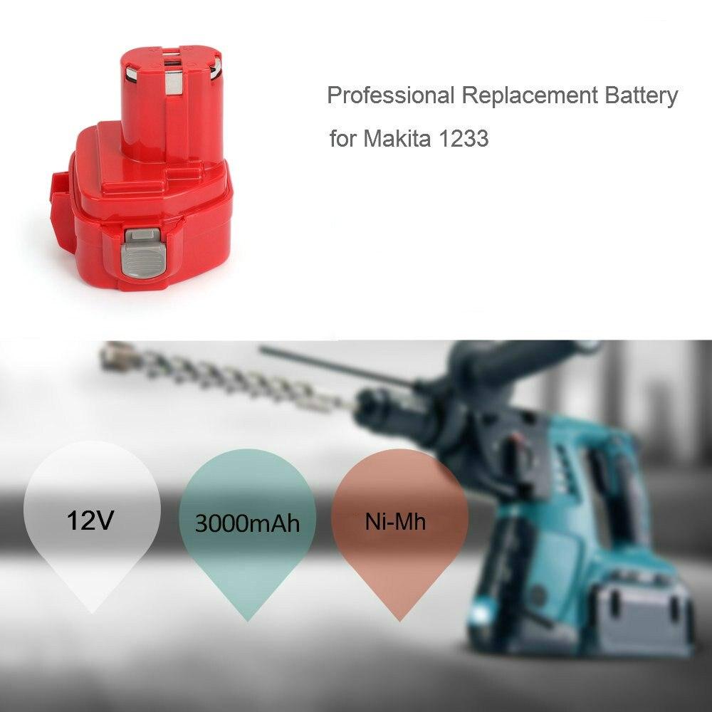 2 uds Makita 12V 3.0Ah NiMh batería de repuesto para 1220 1222 1234 1235 192598-2 PA12 12 voltios NiCd batería de herramientas eléctricas inalámbricas - 3