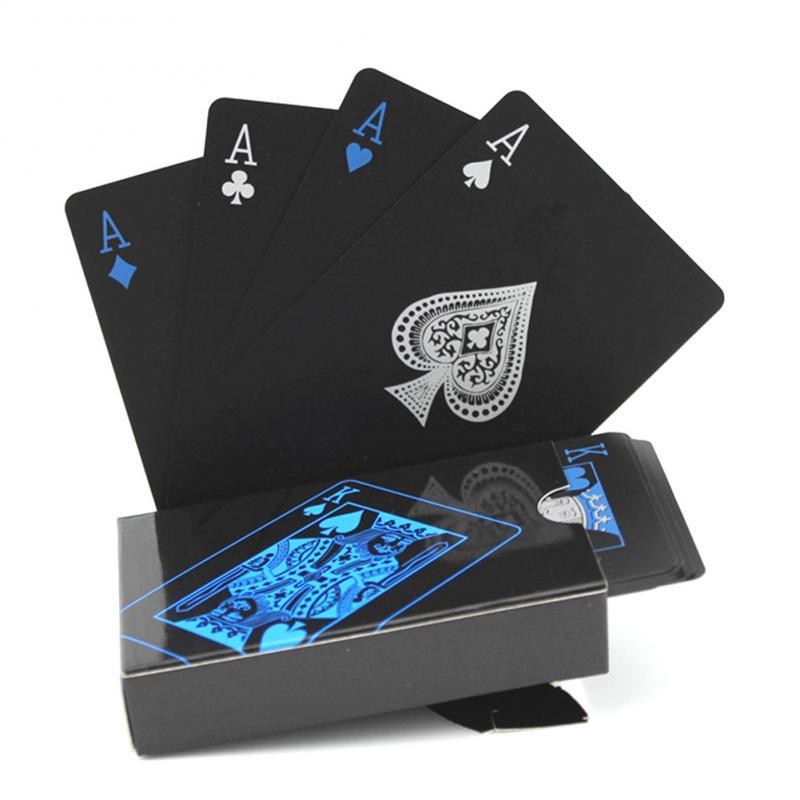 Waterproof Pvc Playing Card Set Waterproof Cool Black Classic Poker Solitaire Magic Tool Poker Plastic Table Game Club GiftTSLM1