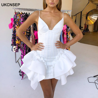 UKCNSEP 2020 New Summer Bandage Dress Sexy V Neck Cascading Ruffle Bodycon Celebrity Mini Evening Party Club Dress Vestidos