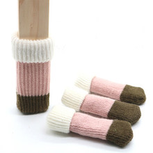 4Pcs Pink Wool Yarn Knitting Flower Socks For Chair Furniture Leg Protection Anti-Slip Floor Chair Let Cover 10*3.5Cm(China)