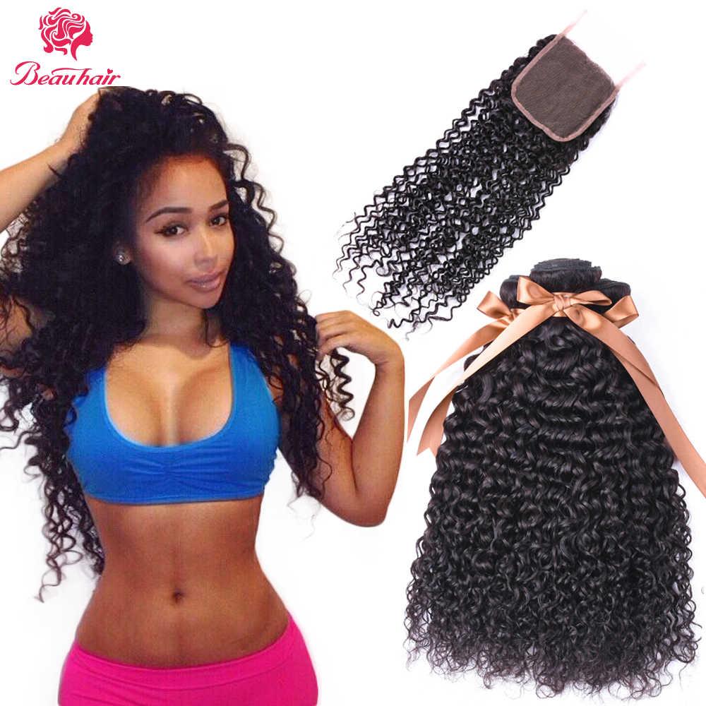Brazylijski ludzki włos 3 zestawy z zamknięciem głębokie perwersyjne kręcone 4x4 zamknięcie koronki Remy ludzkie włosy wyplatane podwójne pasma Extensations