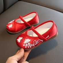 Girls Embroidery Shoes Handmade Floral Flower Single Princess Shoes Chinese Costume Sneakers For Toddler Kids Baby Girls Shoes(China)
