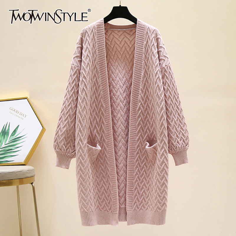 TWOTWINSTYLE Knitting Women's Sweater Lantern Long Sleeve Thick Korean Cardigans Loose Female 2020 Autumn Winter Fashion New