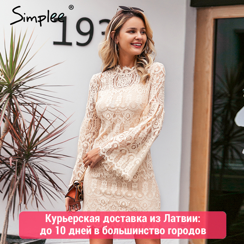 Simplee Sexy Lace Embroidery Women Dress Elegant Flare Sleeve Female Party Dress Ruffled Ladies Autumn Office Dress Vestidos