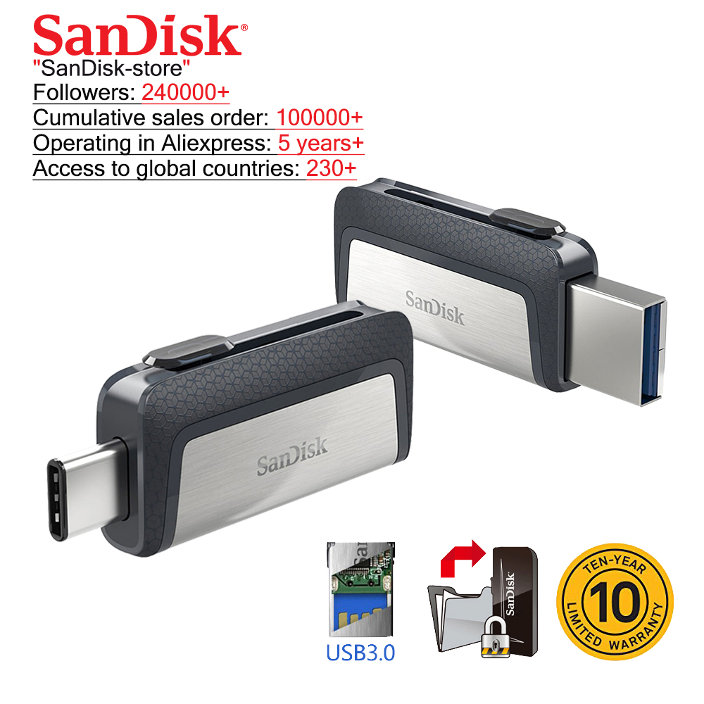 Sandisk OTG type-c and Micro USB 3 0 usb flash drive multifunctional usb stick pen drive pendrive 16gb 32gb 64gb 128gb 256gb