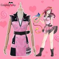 Kingdom Hearts III 3 Kairi Cosplay Costume Uniform Outfit Combat Suit Women Halloween Carnival Cosplay Costume Pink DRESS