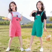 Летние детские комбинезоны для девочек шорты на подтяжках новинка