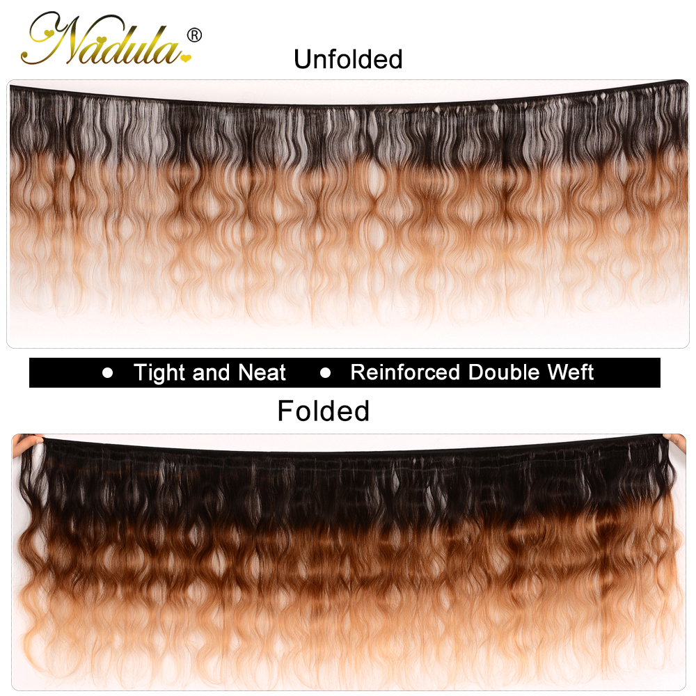 Nadula Hair  Body Wave Ombre Hair Bundles T1B/4/27 3 Tone  Hair s Machine Double Weft 1Bundle Can Be Mixed 2